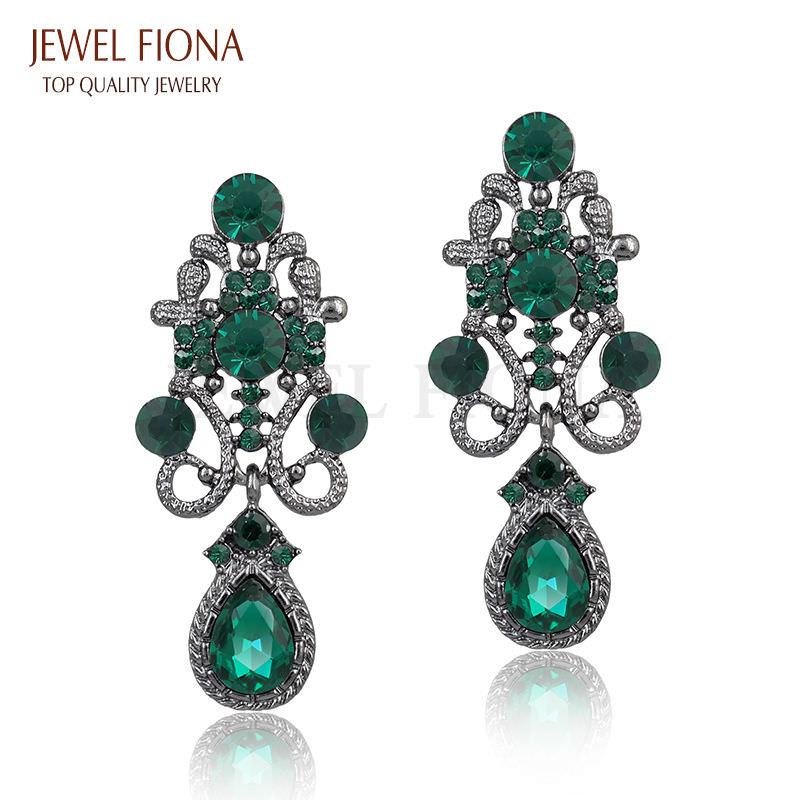 11610-4a27ac847f043d12a5414b2680e496cc Fancy Gunmetal Chandelier Drop Earring Jewelry With Rhinestones