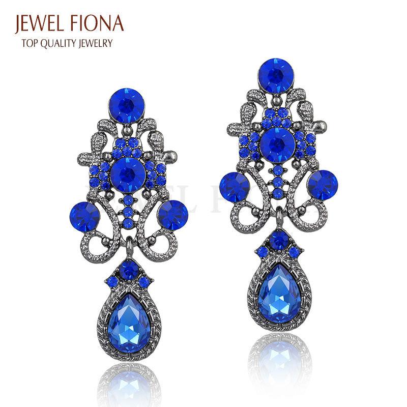 11610-584a2e9b0d67999ef332d3da5282a4bd Fancy Gunmetal Chandelier Drop Earring Jewelry With Rhinestones