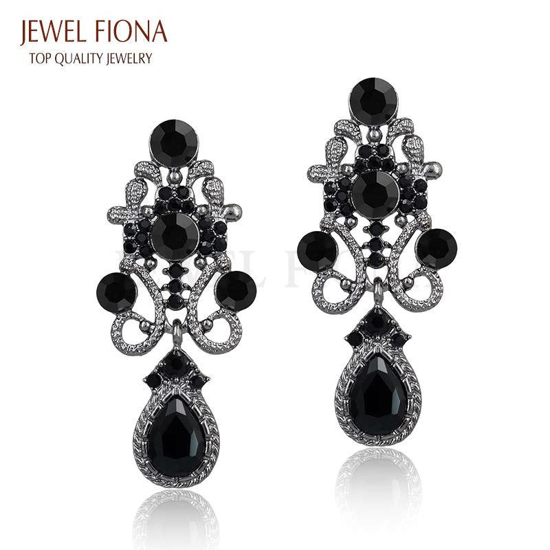 11610-a6105e7723bcbf5d663d2c09df9db761 Fancy Gunmetal Chandelier Drop Earring Jewelry With Rhinestones