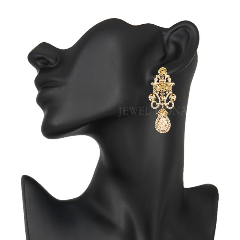 11610-bce7e22dac314686e15204c68d2e6e2c Fancy Gunmetal Chandelier Drop Earring Jewelry With Rhinestones