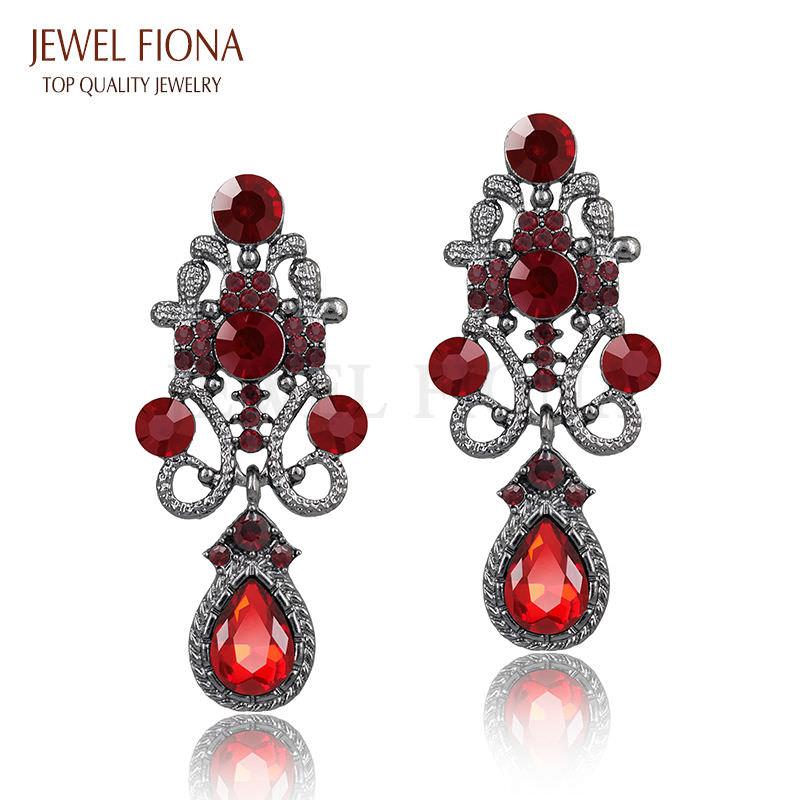 11610-c9b2918f7979b53413906c9555e9e2d2 Fancy Gunmetal Chandelier Drop Earring Jewelry With Rhinestones