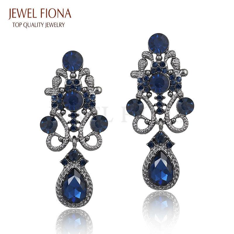 11610-f4315776d81c5f2ee13e2597926e2a65 Fancy Gunmetal Chandelier Drop Earring Jewelry With Rhinestones