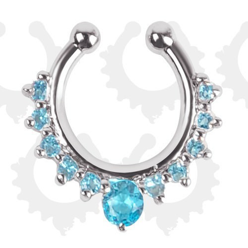 11613-315f563e94e1d13dfbb260cddbaf0ae1 Detailed Costume Fake Septum Clicker With Rhinestone Crystals