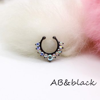 Detailed Costume Fake Septum Clicker With Rhinestone Crystals