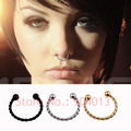 Sleek Stainless Steel Twisted Metal Design Fake Nose Ring Jewelry