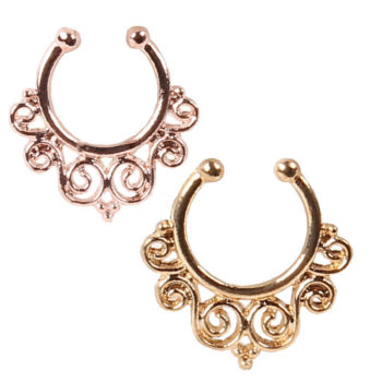 1.2mm Gold Vintage Flourish Fake Septum Nose Ring Jewelry
