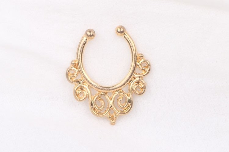 11625-807aa166d51364d92905efa6658c6a0f 1.2mm Gold Vintage Flourish Fake Septum Nose Ring Jewelry