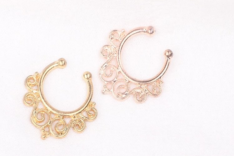 11625-f128a5af8263ab612f727cf35b977e5d 1.2mm Gold Vintage Flourish Fake Septum Nose Ring Jewelry