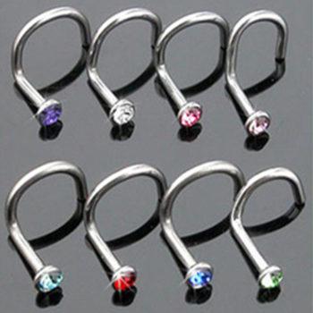10pcs/lot Assorted Color Rhinestone Nostril Screw Jewelry
