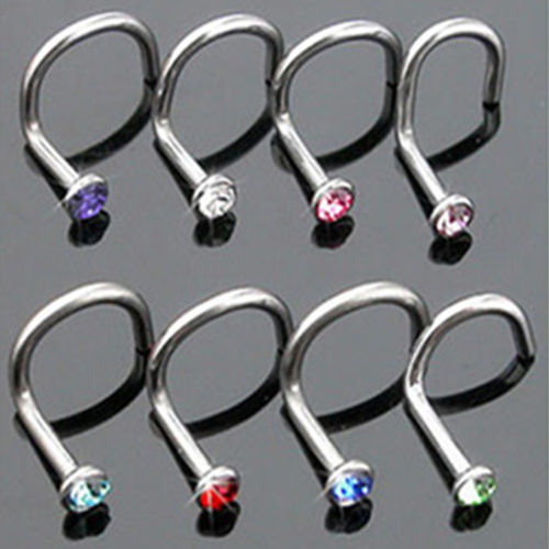 11627-b104aee9ee6088122b56fef4c84e864d 10pcs/lot Assorted Color Rhinestone Nostril Screw Jewelry