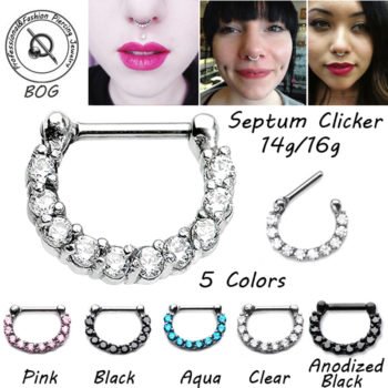 Lightweight Ornate Steel Prong Crystal Septum Clicker Nose Jewelry
