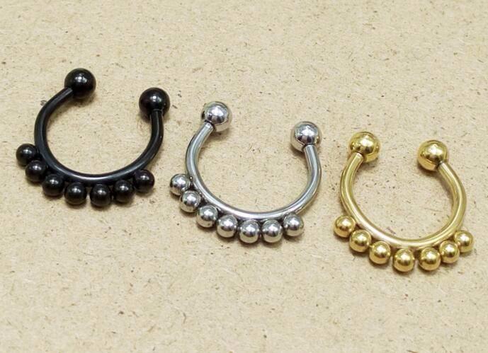 11633-52150879c346bdddec0d6de8c2e367b2 Punk Gothic Fake Septum Ring Jewelry In Black / Silver / Gold