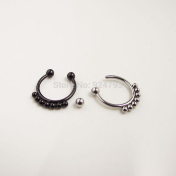 Punk Gothic Fake Septum Ring Jewelry In Black / Silver / Gold