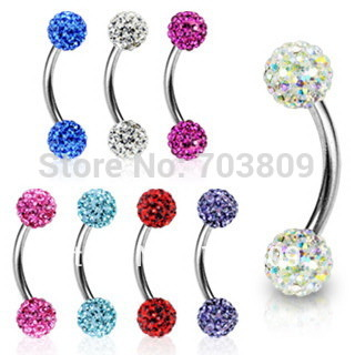 Adorable Curved Barbell Nose Ring Body Jewelry With Rhinestones