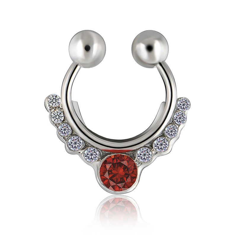 11638-17c465041a3c49ac5c507d743a8dd222 Glamorous Fake Nose Septum Ring With Crystal Accent