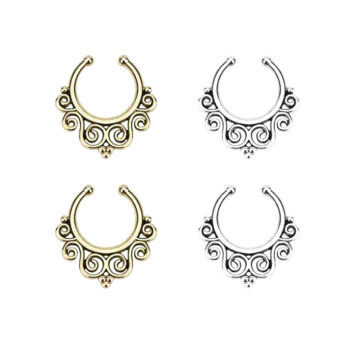 Vintage Classic Filigree Designed Faux Septum Ring Jewelry For Women
