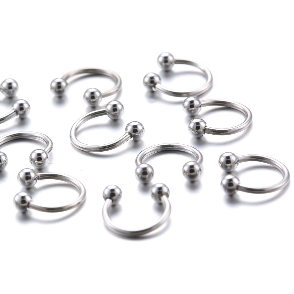 11645-6e4e5cd46466720608f6251874b56ff8 10Pcs/Lot Classic Surgical Stainless Steel Horseshoe Nose Ring Jewelry