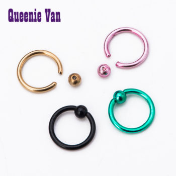 Trendy Stainless Steel Captive Bead Ring Jewelry In Various Colors