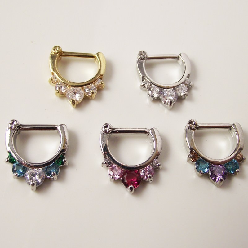 11649-43a5eafed49e70aa945829b561f63d3e Ornate Gemmed Surgical Steel Crystal Septum Clicker Jewelry For Nose