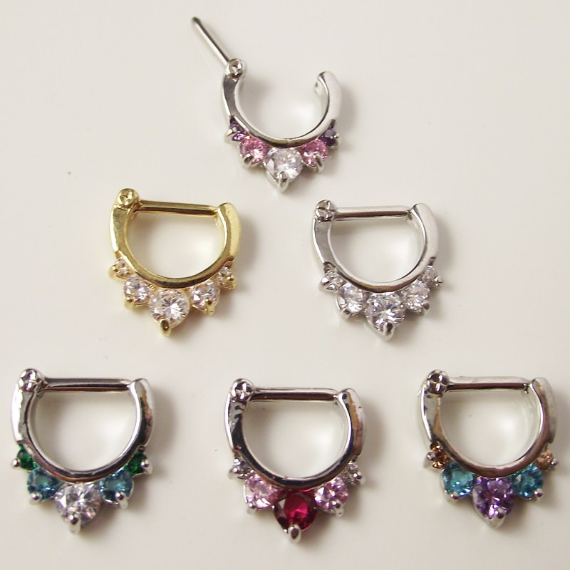 11649-c5fac23c07bebaae3a1b59cd033b1bd2 Ornate Gemmed Surgical Steel Crystal Septum Clicker Jewelry For Nose