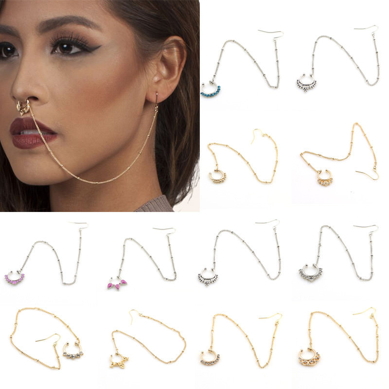 11650-a304d4c9486c8594b60015df7b583ab9 Exotic Gemmed Nose To Ear Chain With Fake Nose Ring Jewelry
