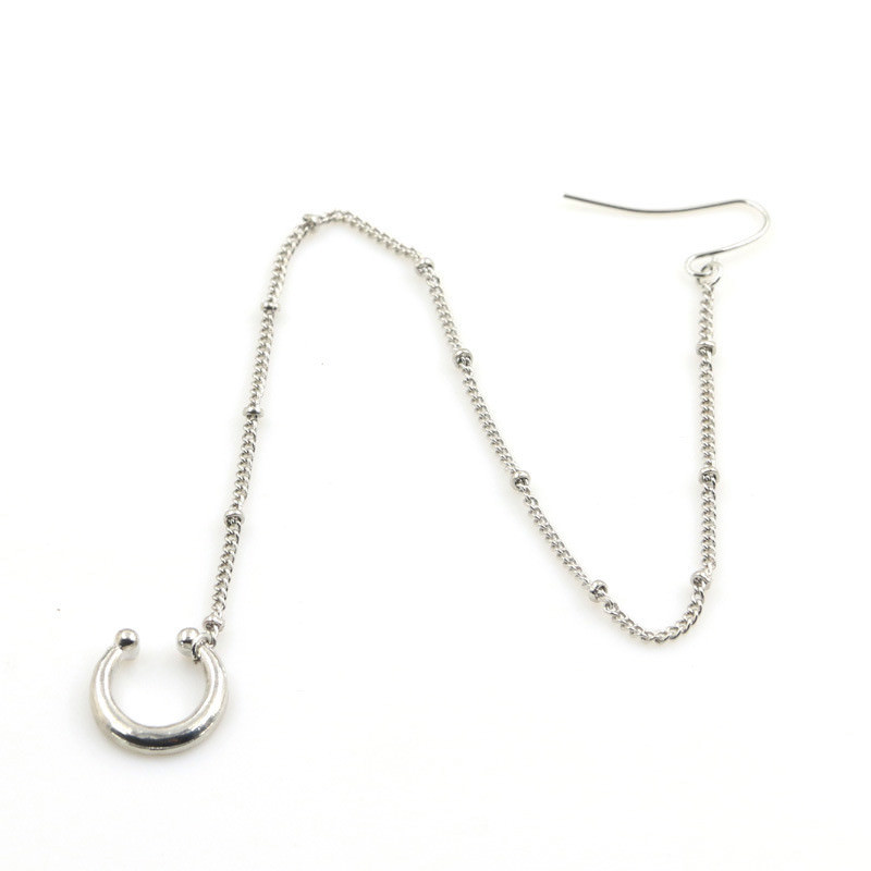 exotic gemmed nose to ear chain with fake nose ring jewelry