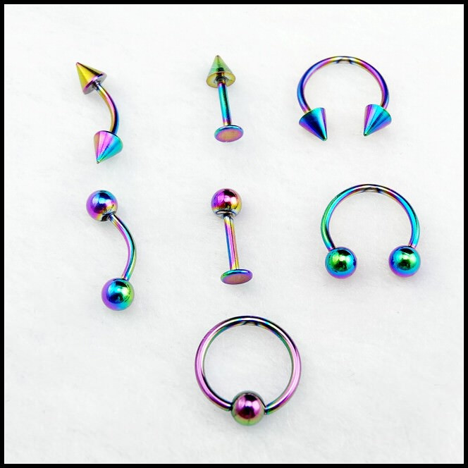 11653-97dc54c4c3cf926eb0642b16a502d065 1pc Hologram Rainbow Colored Anodized Stainless Steel Nose Jewelry