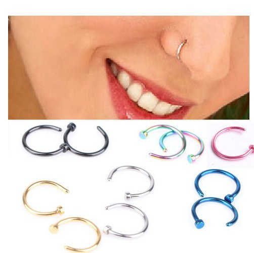 11655-b11f2f5d63803acc6de34021064e8288 2pcs 0.8mm Vibrantly Colored Nose Hoop Ring Jewelry For Women