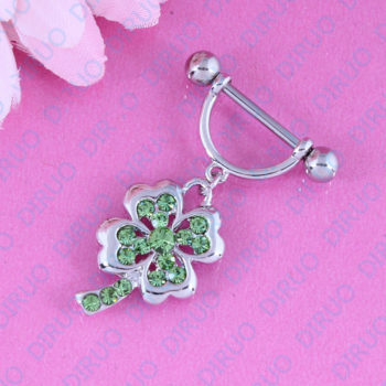 2pcs Lucky 4 Leaf Clover Dangling Nipple Body Jewelry With Crystals