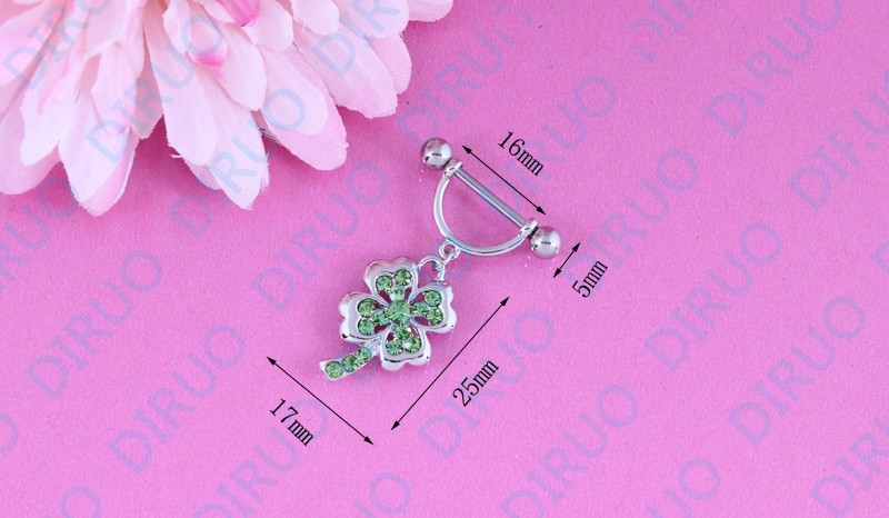 11663-74397aa30a8c24a54f1c250dd1048b5f 2pcs Lucky 4 Leaf Clover Dangling Nipple Body Jewelry With Crystals