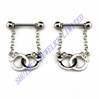 SHUIMEI Pair Clear Gem Handcuff Nipple Shield Ring 14G Barbell Chain Dangle Piercing Body Jewelry New 2015