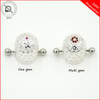 BOG-Pair 316L Surgical Steel Jeweled Nipple Cap Jewelry Nipple Shield Nipple Piercing Ring Body Jewelry