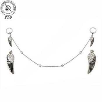 Pair Of Gemmed Wings Nipple Body Jewelry With Gemmed Body Chain