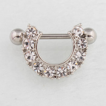 2pcs Elegant Semi-Circle  Nipple Body Jewelry With Crystals