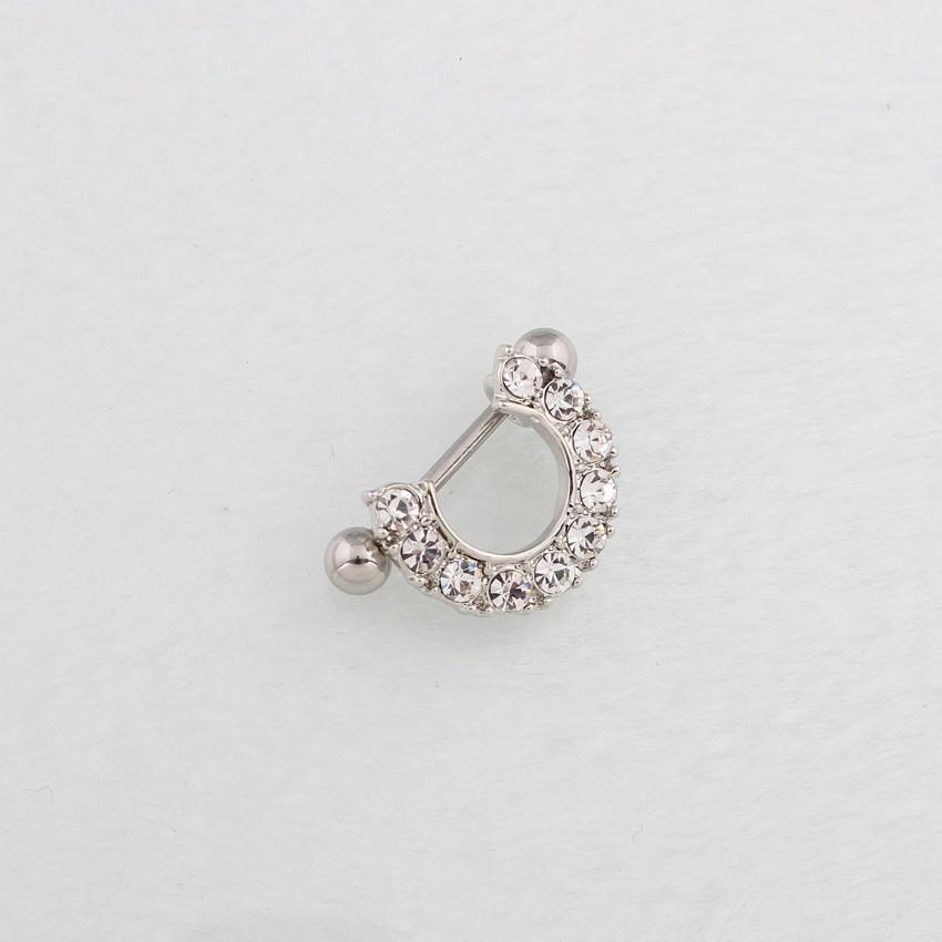 11672-ddb25a5c0319dae6feacbcf4c32c7d7e 2pcs Elegant Semi-Circle  Nipple Body Jewelry With Crystals