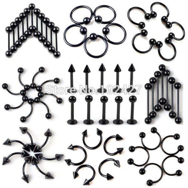 11674-6ab19406d2230d75a4886f7e08445f10 10pcs/lot Black Stainless Steel Nipple / Body Piercing Jewelry