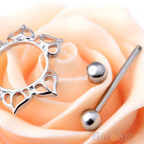 11677-1661600da10df979e7ac5982008ea764 2pcs Surgical Steel Simple Floral Nipple Shield Body Jewelry