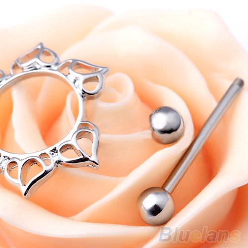 11677-1661600da10df979e7ac5982008ea764 2pcs Surgical Steel Simple Floral Nipple Shield Body Jewelry