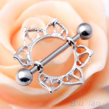 2pcs Surgical Steel Simple Floral Nipple Shield Body Jewelry