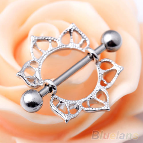 11677-326ee25038e1ee0480771a1cdc25528a 2pcs Surgical Steel Simple Floral Nipple Shield Body Jewelry