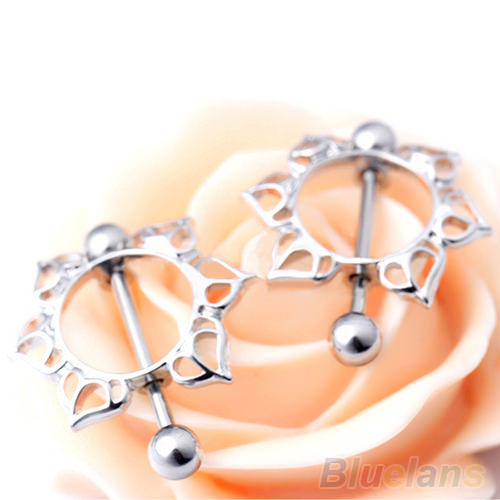 11677-77c7eed0fc3add26043a0194d49c6cd7 2pcs Surgical Steel Simple Floral Nipple Shield Body Jewelry