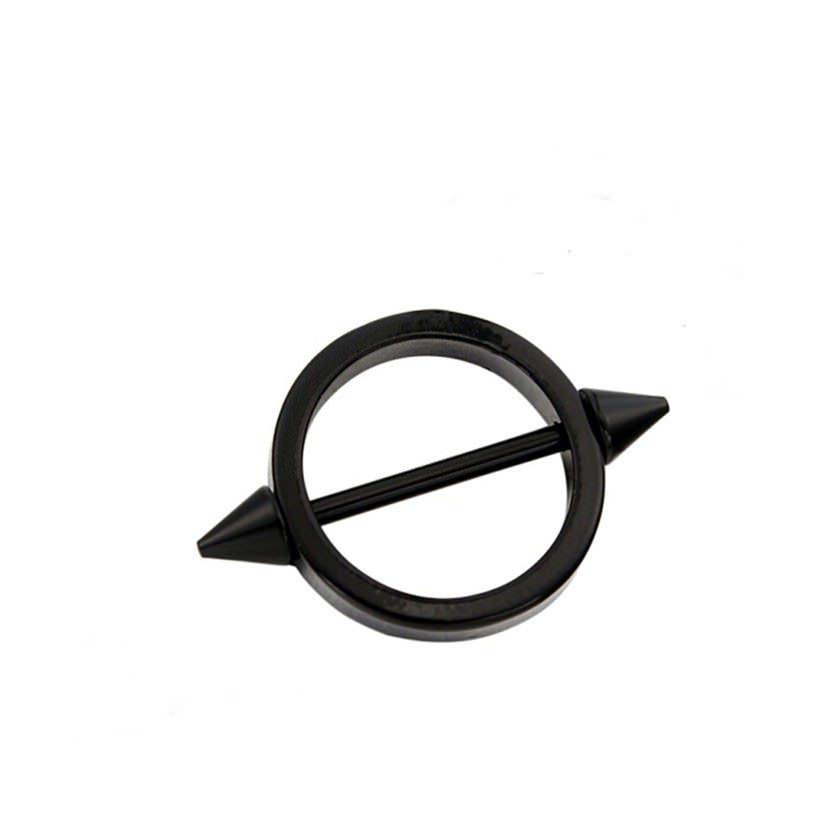 11680-e16e1ca61025dc008959653f6774c9e8 Sleek Studded Nipple Shield Body Jewelry In Black Or Chrome