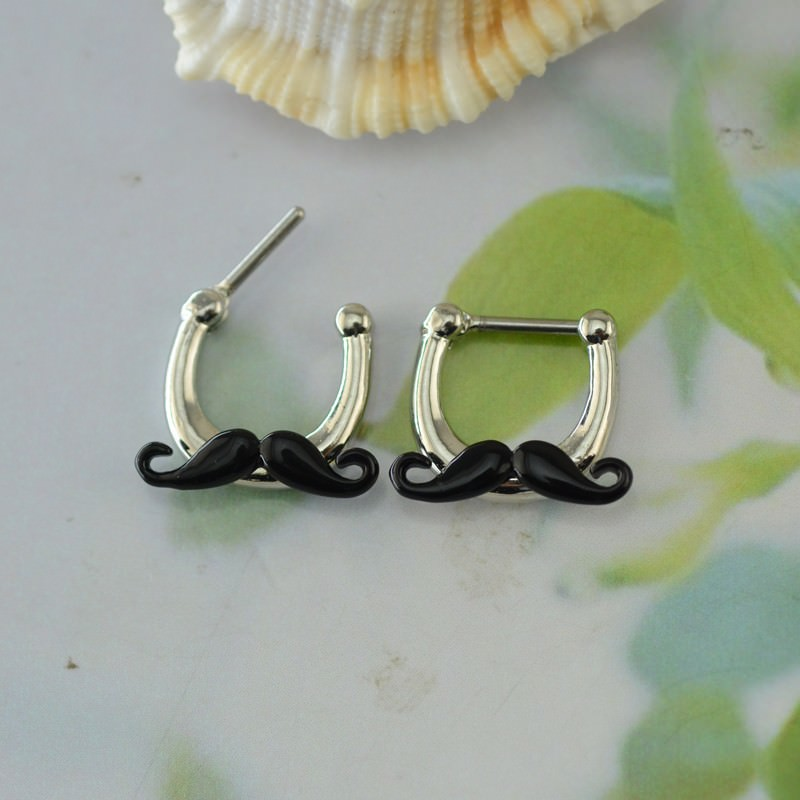 11683-886a48b92dcc9d7b561cd1c9e3bc59e3 Hypoallergenic Adorable Funny Mustache Nose Ring Body Jewelry