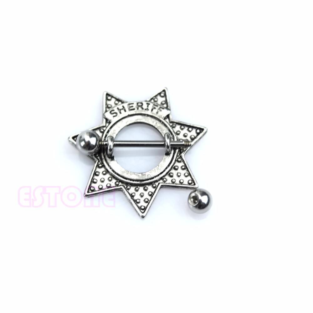11685-04a8129203cb2227456add502c335332 Surgical Steel Retro Star Shape Sheriff Badge Nipple Shield Body Jewelry