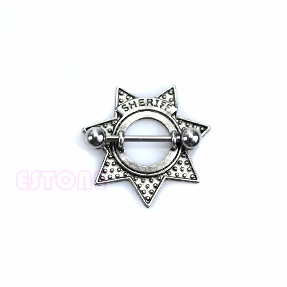 11685-7812f516413b58d72dc10856d2c9d66b Surgical Steel Retro Star Shape Sheriff Badge Nipple Shield Body Jewelry
