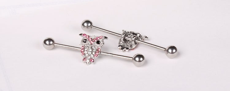 11688-4ce2b937236ef34721eca4f3cd33e957 1 Pc Surgical Steel LA/ Anchor/ Owl / Rose Barbell Stud Body Jewelry