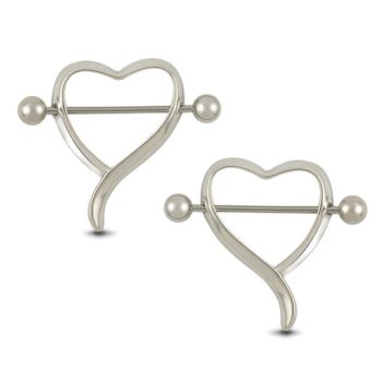 New Surgical Steel Curvy Heart Shaped Bar Nipple Shield Body Jewelry