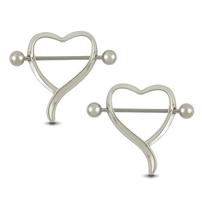 11689-13bde75eb22493cf19e0a44d231e42fd New Surgical Steel Curvy Heart Shaped Bar Nipple Shield Body Jewelry