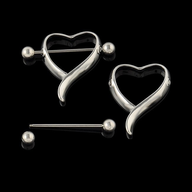 11689-eea9401988b1024764e7e1bfefca8077 New Surgical Steel Curvy Heart Shaped Bar Nipple Shield Body Jewelry