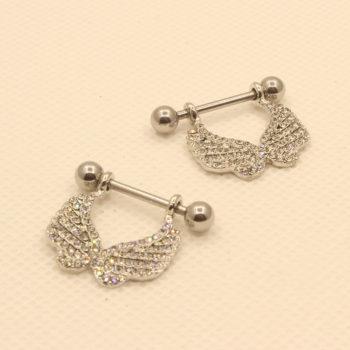 2 Pcs Elegant Gemmed Wings Nipple Shield Body Piercing Jewelry